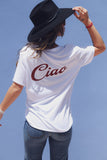 Female Traveller wearing White Ciao Tee with black handmade wool hat by Madly Addictive