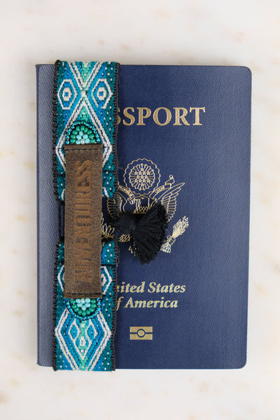 Passport Accessory, a Handmade Adventuress Passport Wrap with artisanal details and fabric.