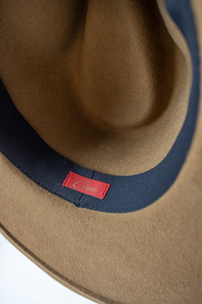 Handmade wide brim Bandido wool hat with strap by Madly Addictive.