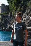 Male Traveller wearing Passport Gagster tee in Almafi Coast.