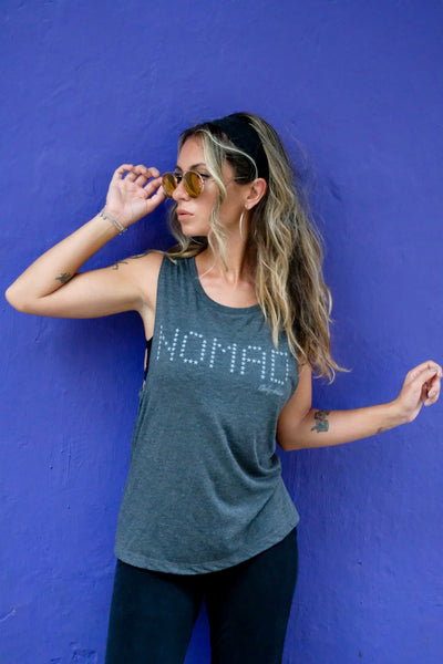 Female Traveller wearing Madly Addictive Nomad Tank in Cartagena.