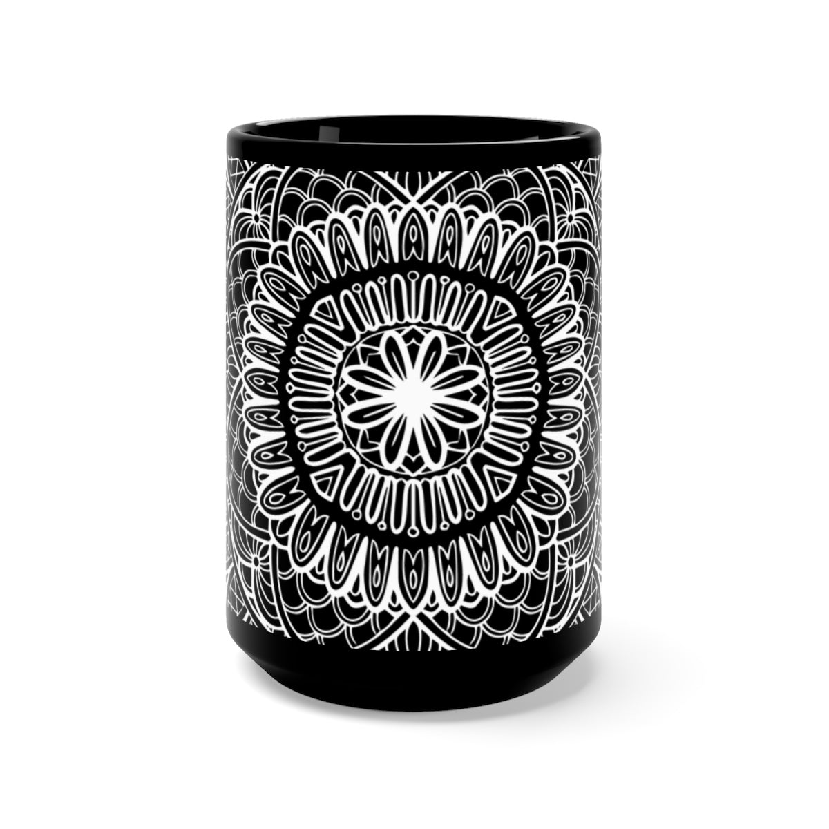 white mandala black mug 15 ounce coffee tea