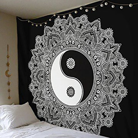Classic Black and White Mandala Tapestry