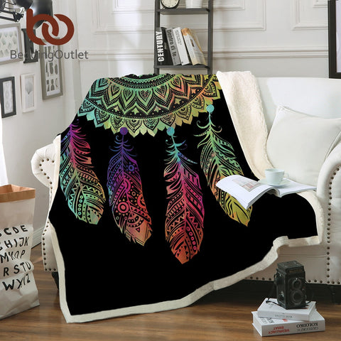 Feather Mandala Fleece Blanket