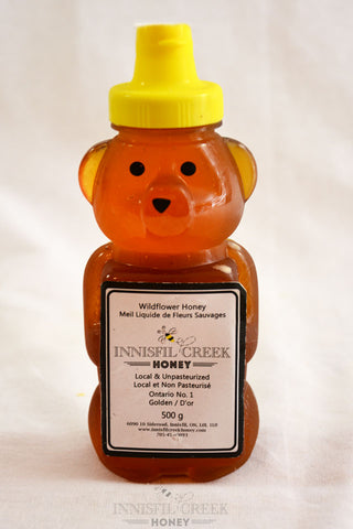 500 gram plastic bear of local ontario wildflower Honey
