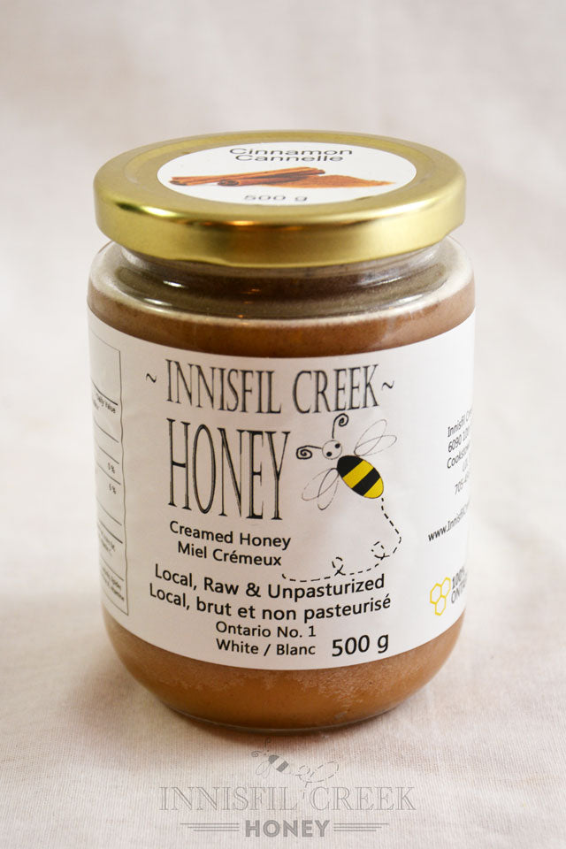 500 gram jar of local ontario cinnamon creamed honey