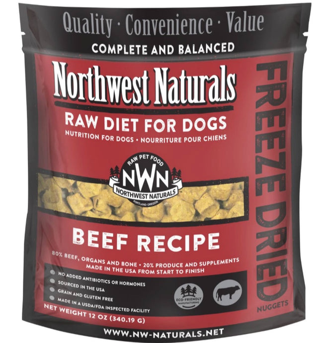 Northwest Naturals Freeze Dried Raw Diet Dog Food -Beef Recipe 12oz - Enchanting Bolognese