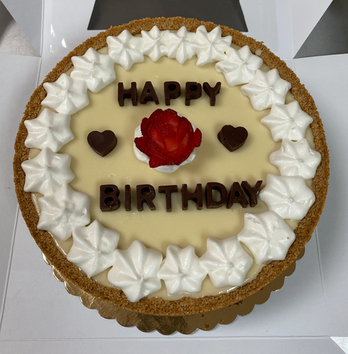 The Triple Decker Key Lime Birthday Pie with Chocolate Letters