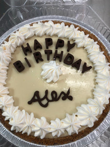 "Birthday Key Lime Pie 10"" w/Chocolate Lettering"
