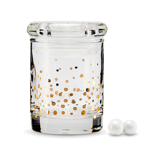 Gold Foil Confetti Mini Glass Favor Jar With Lid (6-Pack)
