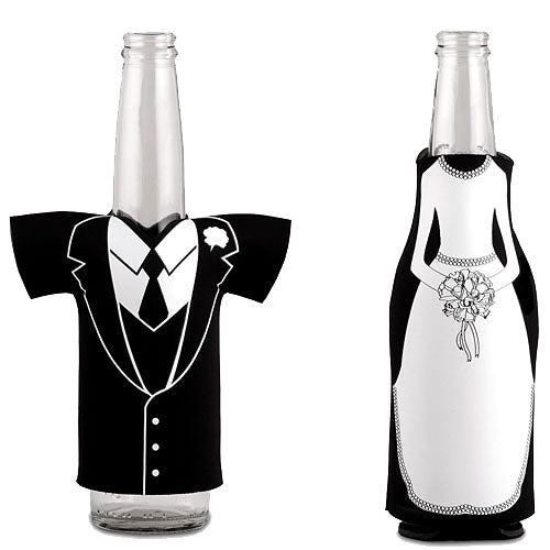 Bride Or Groom Koozie Bottle Holder Favour