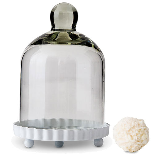 Small Glass Bell Jar With White Base Wedding Favor (Pkg. of 4)
