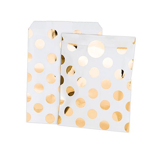 Gold Foil Polka Dot Paper Treat Bags With Stickers (8-Pack)