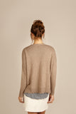 Womens Crew Neck Cashmere Jumper, Sweater in Camel, Beige, Sand