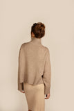 Womens Roll Neck Cashmere Jumper, Turtleneck Sweater in Sand, Beige, Camel