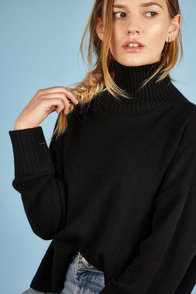 Womens Roll Neck Cashmere Jumper, Turtleneck Sweater in Black