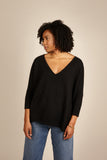 Womens V Neck Cashmere Jumper, Deep V Sweater in Black