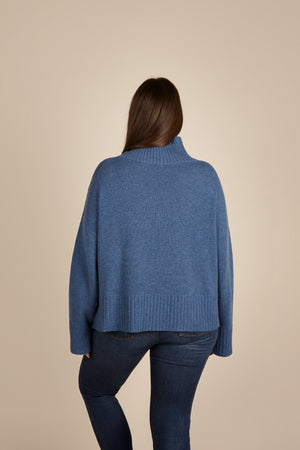 Womens Roll Neck Cashmere Jumper, Turtleneck Sweater in Blue