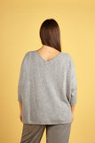 Womens V Neck Cashmere Jumper, Deep V Sweater in Grey