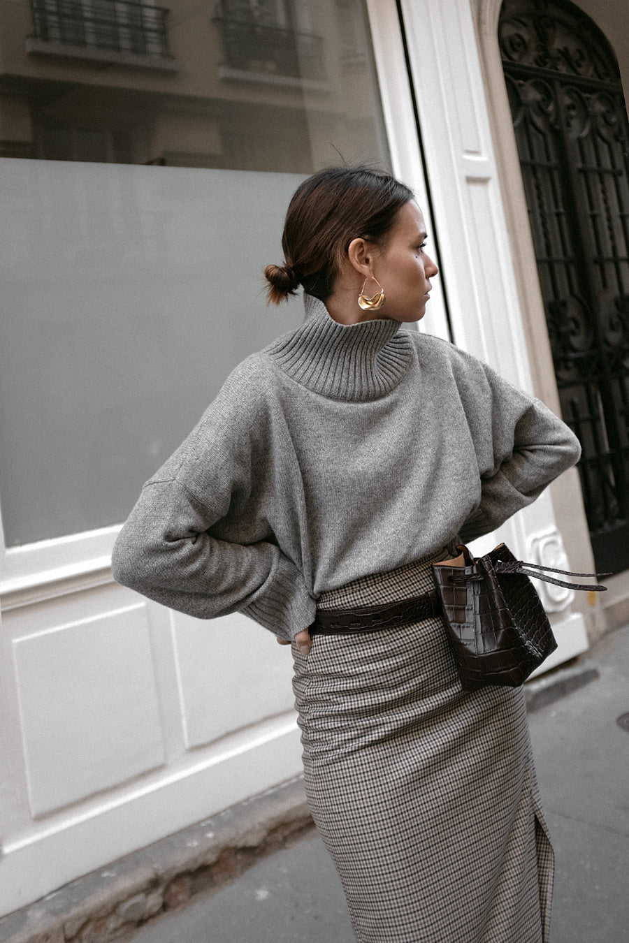 98931e1475e72d Common Thread | Women's Cashmere | Grey Relaxed Roll Neck Jumper, Sweater