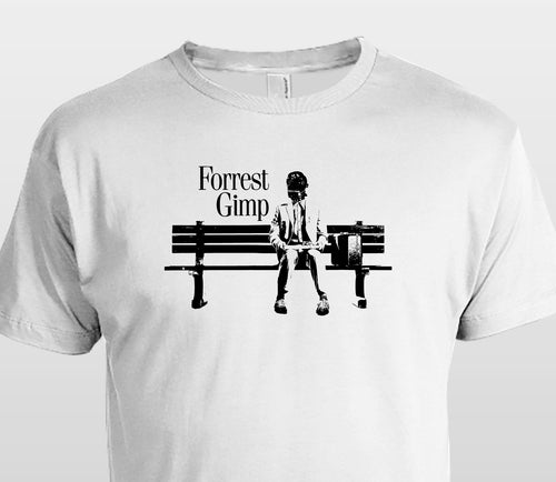 Forest Gimp t shirt parody bench mask hood fetish gump