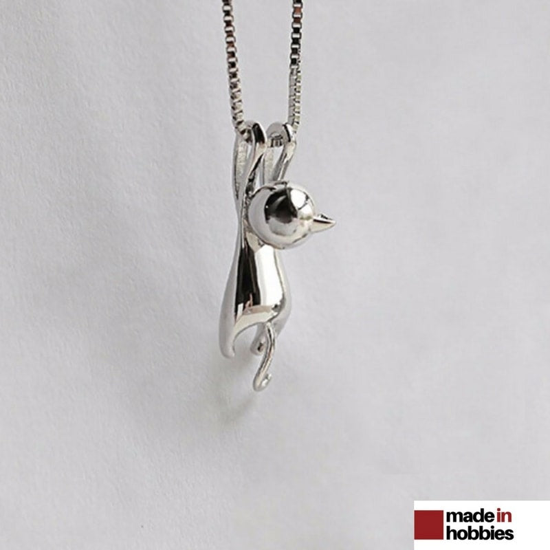 collier argent chat