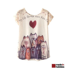 Tshirt-femme-chat-9vies-manches-courtes