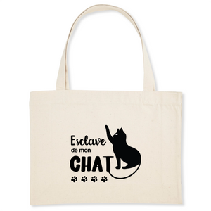 tote bag chat coton bio esclave de mon chat