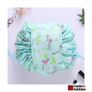 trousse-maquillage-ronde-vert-flamant-rose