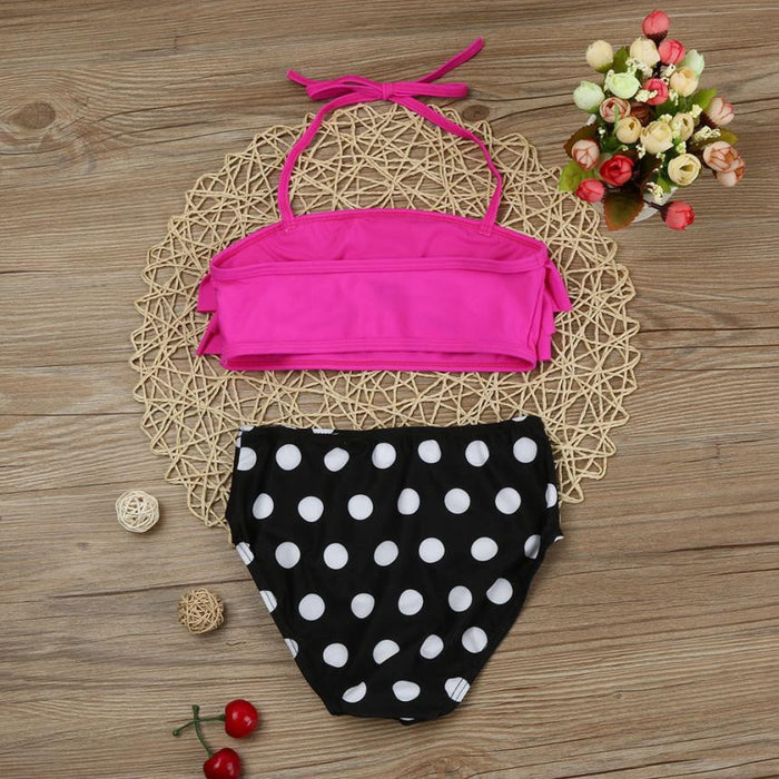 "Girls Swimsuit in, ""Polka Dot & Pink"""