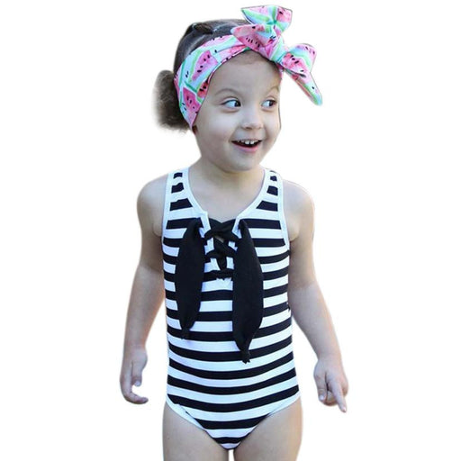 Striped One Piece Bathing Suit