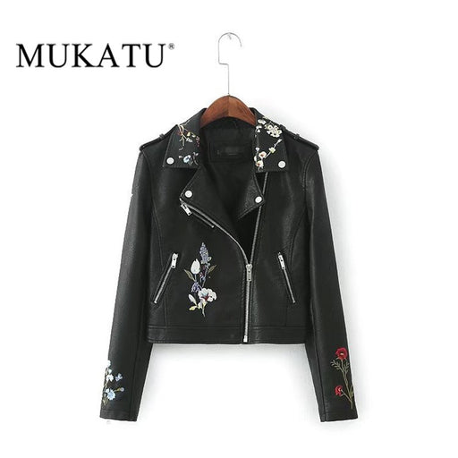 Women's Embroidered Faux Leather Biker Jacket