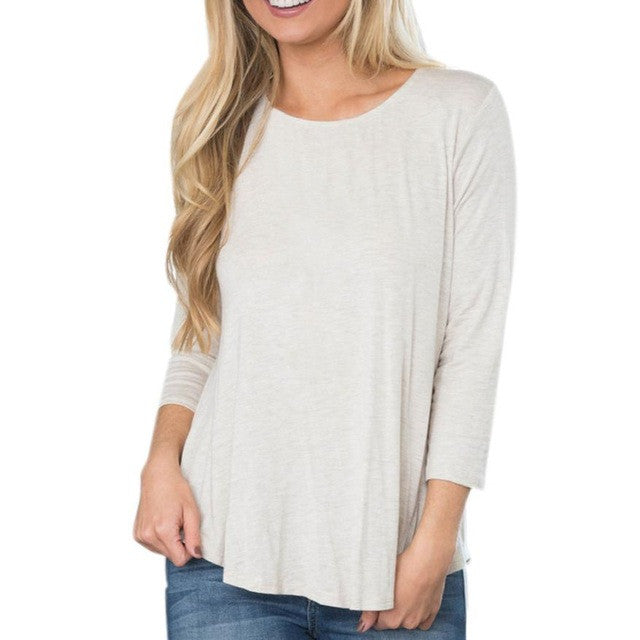 Women's Long Sleeved U- Neck W/ Lace Detail