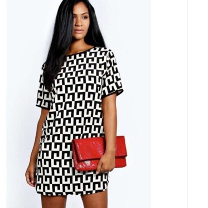 Women's Patterned Short-sleeved Dress