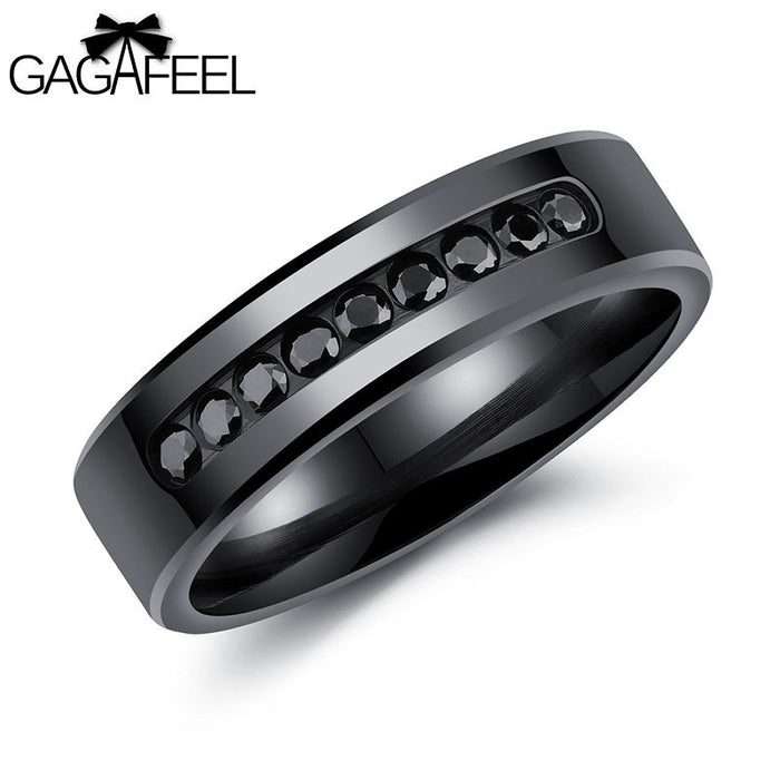 "Men's Stainless Steel Ring in, ""Black Diamond"""