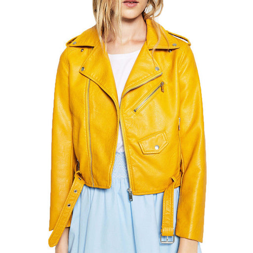 "Women's Suede & Faux Leather Jacket, in ""Mellow Yellow"""
