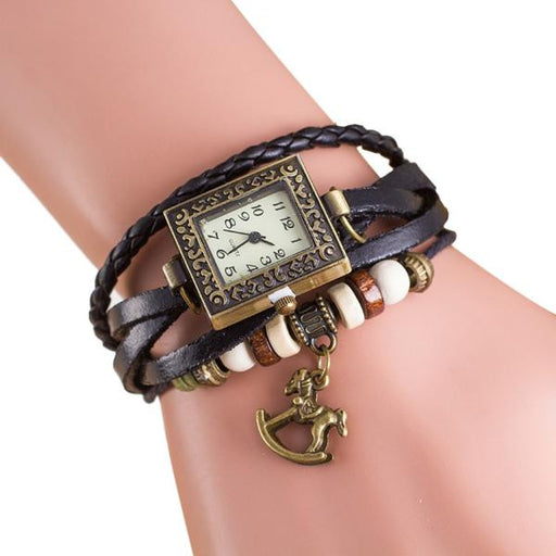 Women's Trojan Wrap Around Leather Bracelet & Watch