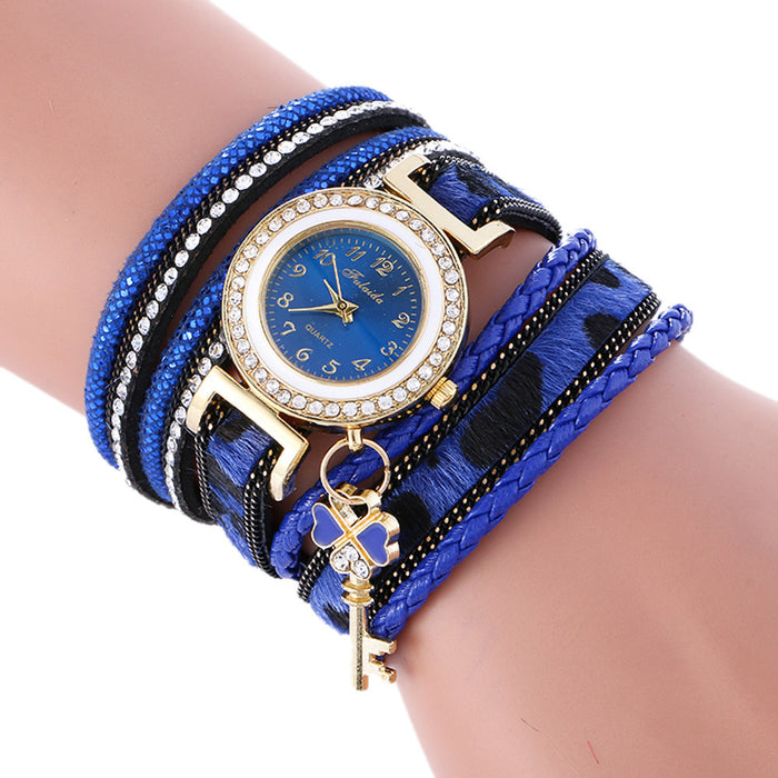 Unique Wrap Around Leather Bracelet Watch Combo