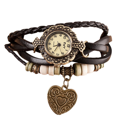 Women's Quartz Wrap Around Leather Watch W/Charm