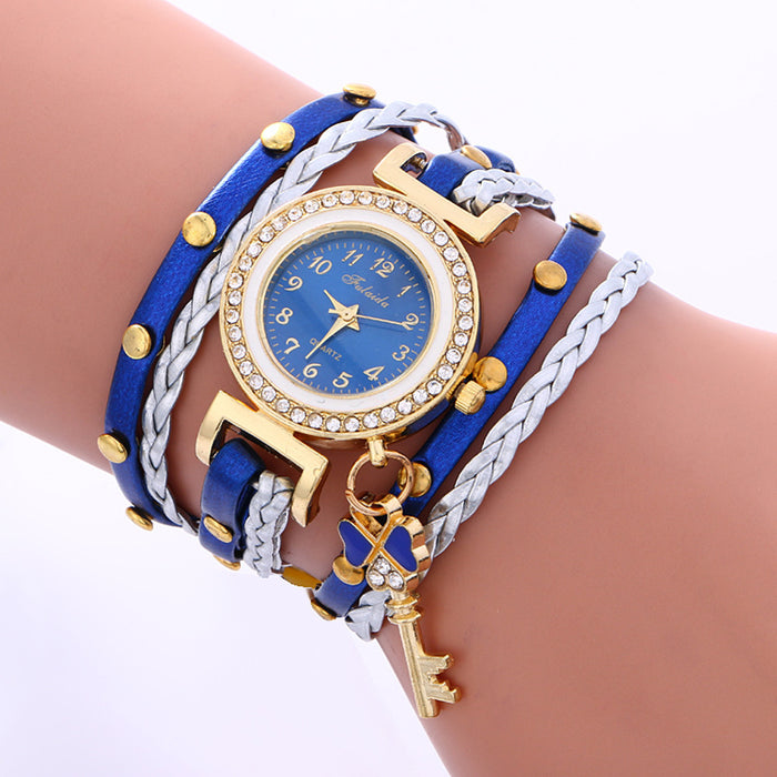 Leather Bracelet Weaving Womans Watch