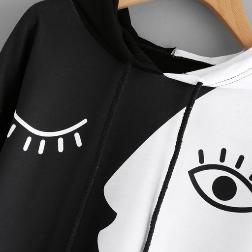 Women's Black and White Abstract Art Hoodie