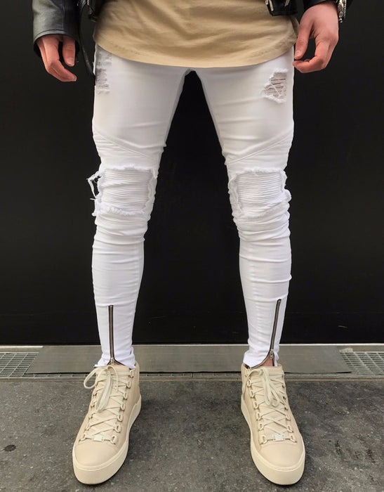 "Men's Distressed Street Wear Jeans in. ""White"""