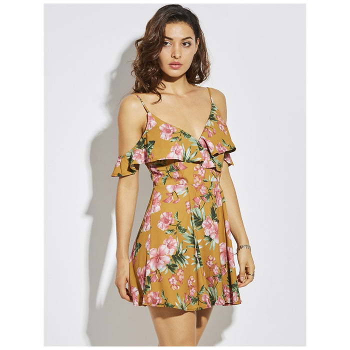 "Short Cotton Yellow Slip Dress in, ""Meadow"""