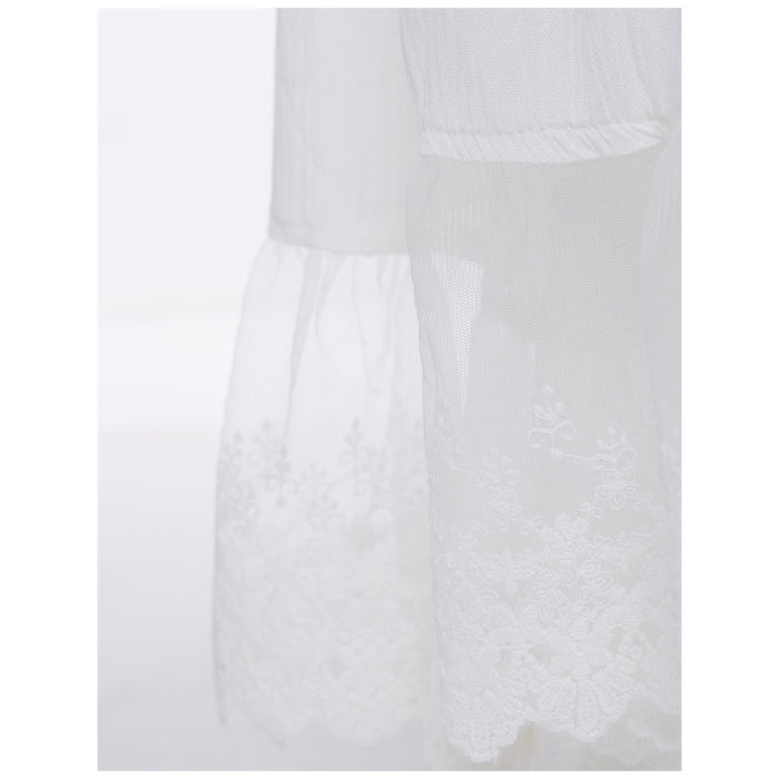White Long Peplum Dress W/Lace