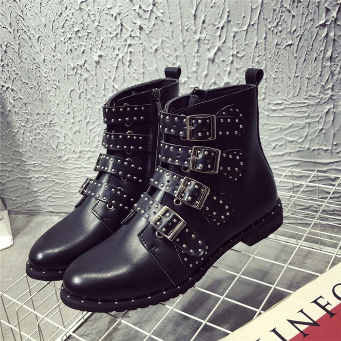 Women's Leather Rivet Boots W/Buckles