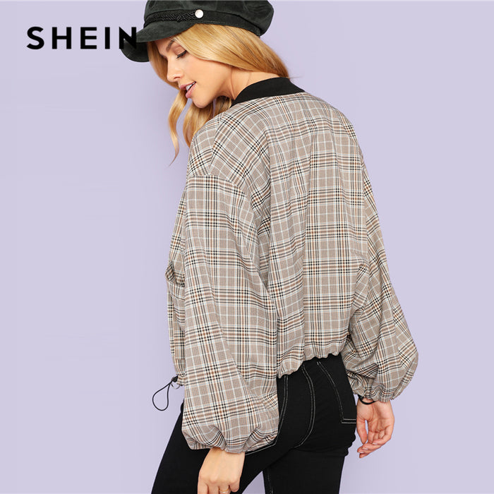 Casual Plaid Bomber