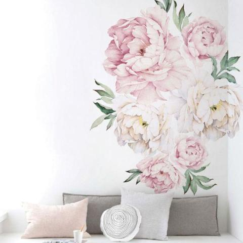 Peony Flowers Wall Sticker, Vintage rose
