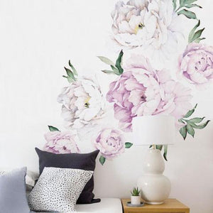 Peony Flowers Wall Sticker, Vintage Lilac