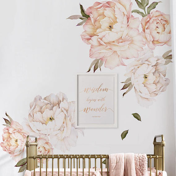 Peony Flowers Wall Sticker - Vintage Peach