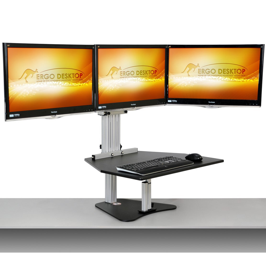 Excellent Ergo Desktop Kangaroo Tri Elite Desk Converter Triple Home Interior And Landscaping Analalmasignezvosmurscom